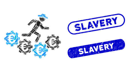 Mosaic Euro gears runner and distressed stamp seals with Slavery text. Mosaic vector Euro gears runner is formed with randomized rectangle items. Slavery stamp seals use blue color,