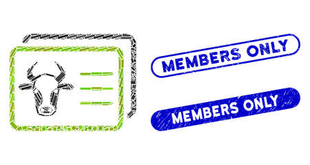 Mosaic cow account cards and grunge stamp seals with Members Only text. Mosaic vector cow account cards is created with random rectangle items. Members Only stamp seals use blue color,