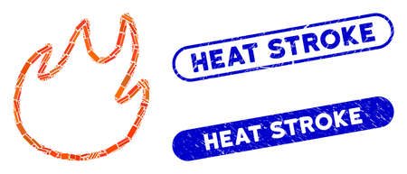 Mosaic flame contour and distressed stamp seals with Heat Stroke phrase. Mosaic vector flame contour is formed with random rectangles. Heat Stroke stamp seals use blue color,