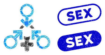 Mosaic triple penetration sex and rubber stamp seals with Sex phrase. Mosaic vector triple penetration sex is created with random rectangle items. Sex stamp seals use blue color,