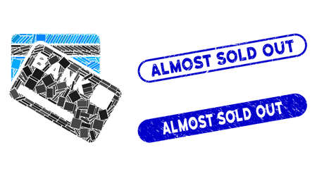 Mosaic bank cards and rubber stamp watermarks with Almost Sold Out phrase. Mosaic vector bank cards is formed with random rectangle items. Almost Sold Out stamp seals use blue color, Stock Illustratie