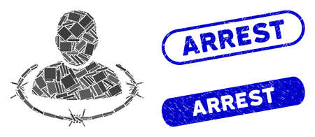 Mosaic captured man and rubber stamp seals with Arrest caption. Mosaic vector captured man is composed with random rectangle items. Arrest stamp seals use blue color, and have round rectangle shape.