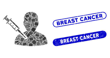 Mosaic man vaccination and rubber stamp watermarks with Breast Cancer caption. Mosaic vector man vaccination is composed with random rectangle items. Breast Cancer stamp seals use blue color,