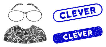 Mosaic clever spectacles and distressed stamp seals with Clever text. Mosaic vector clever spectacles is composed with randomized rectangle items. Clever seals use blue color, Çizim