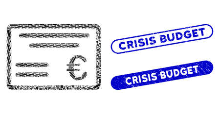 Mosaic Euro cheque and distressed stamp seals with Crisis Budget text. Mosaic vector Euro cheque is designed with scattered rectangle items. Crisis Budget stamp seals use blue color,