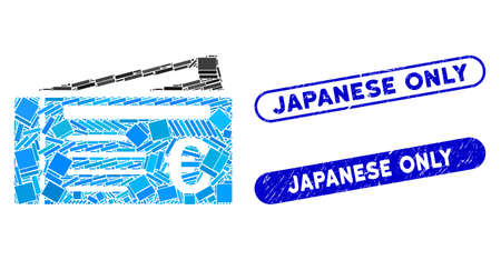 Mosaic Euro tickets and grunge stamp seals with Japanese Only phrase. Mosaic vector Euro tickets is created with randomized rectangle items. Japanese Only stamp seals use blue color,