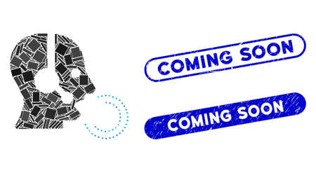 Mosaic operator speech and grunge stamp seals with Coming Soon phrase. Mosaic vector operator speech is composed with scattered rectangles. Coming Soon stamp seals use blue color, Stock Illustratie