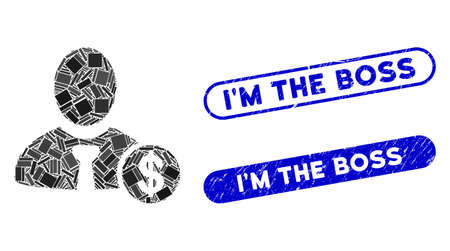 Mosaic banker and rubber stamp seals with IM the Boss phrase. Mosaic vector banker is formed with random rectangle items. IM the Boss stamp seals use blue color, and have round rectangle shape. Illustration