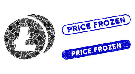 Mosaic Litecoins and distressed stamp seals with Price Frozen phrase. Mosaic vector Litecoins is formed with randomized rectangle items. Price Frozen stamp seals use blue color,