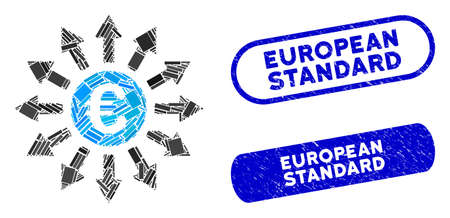 Mosaic Euro payments and grunge stamp seals with European Standard caption. Mosaic vector Euro payments is created with randomized rectangle items. European Standard stamp seals use blue color,