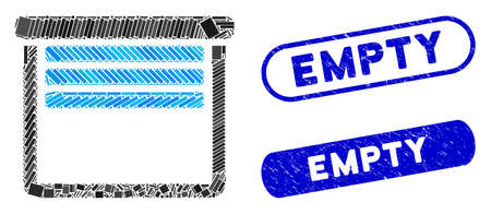 Mosaic garage empty and rubber stamp seals with Empty text. Mosaic vector garage empty is designed with randomized rectangle items. Empty stamp seals use blue color, and have round rectangle shape. Ilustração