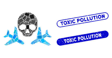 Mosaic mortal airplanes and corroded stamp seals with Toxic Pollution phrase. Mosaic vector mortal airplanes is designed with randomized rectangles. Toxic Pollution stamp seals use blue color,