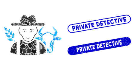 Mosaic farmer and grunge stamp seals with Private Detective text. Mosaic vector farmer is created with randomized rectangle items. Private Detective seals use blue color,