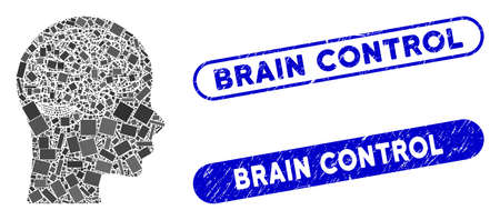 Mosaic brain and rubber stamp watermarks with Brain Control phrase. Mosaic vector brain is composed with randomized rectangle items. Brain Control stamp seals use blue color,