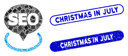 Mosaic local seo and rubber stamp seals with Christmas in July text. Mosaic vector local seo is composed with random rectangle items. Christmas in July stamp seals use blue color,