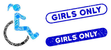 Mosaic disabled woman and rubber stamp seals with Girls Only caption. Mosaic vector disabled woman is created with randomized rectangle items. Girls Only stamp seals use blue color, Illustration