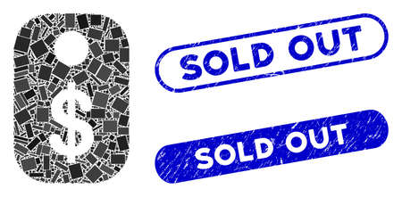 Collage price tag and rubber stamp seals with Sold Out caption. Mosaic vector price tag is formed with randomized rectangle items. Sold Out stamp seals use blue color, and have round rectangle shape.