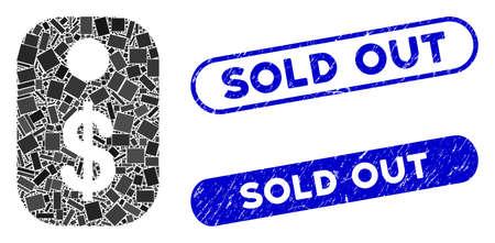 Etiqueta de precio de collage y sellos de sello de goma con la leyenda Agotado. La etiqueta de precio del vector de mosaico se forma con elementos rectangulares aleatorios. Los sellos de sello Agotado usan color azul y tienen forma de rectángulo redondo.