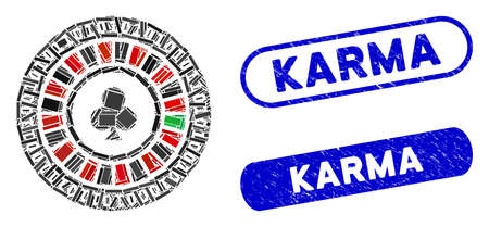 Mosaic digital casino roulette and corroded stamp seals with Karma text. Mosaic vector digital casino roulette is created with scattered rectangles. Karma stamp seals use blue color, Illustration