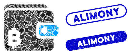 Mosaic Bitcoin wallet and rubber stamp seals with Alimony caption. Mosaic vector Bitcoin wallet is formed with random rectangle items. Alimony stamp seals use blue color,