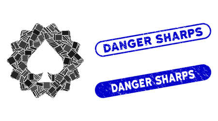 Mosaic spades token and distressed stamp seals with Danger Sharps phrase. Mosaic vector spades token is designed with randomized rectangle items. Danger Sharps seals use blue color,
