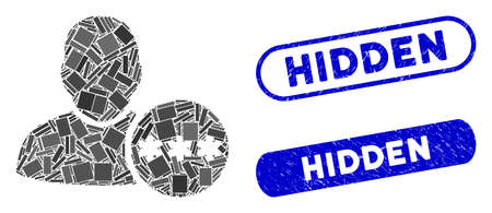Mosaic user hidden password and distressed stamp seals with Hidden phrase. Mosaic vector user hidden password is composed with scattered rectangle items. Hidden stamp seals use blue color,