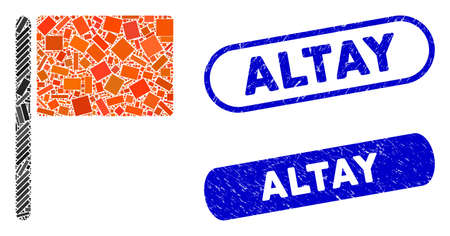 Collage red flag and corroded stamp seals with Altay caption. Mosaic vector red flag is created with random rectangle items. Altay stamp seals use blue color, and have round rectangle shape. Banque d'images - 139441766