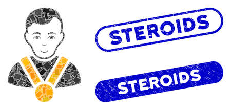 Mosaic champion and corroded stamp seals with Steroids caption. Mosaic vector champion is created with scattered rectangle items. Steroids seals use blue color, and have round rectangle shape.