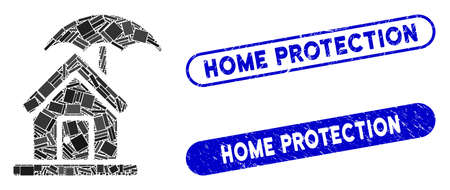 Mosaic house under umbrella and rubber stamp seals with Home Protection text. Mosaic vector house under umbrella is composed with random rectangle items. Home Protection stamp seals use blue color,  イラスト・ベクター素材