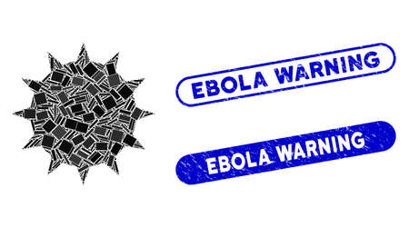Collage bacterium and rubber stamp seals with Ebola Warning text. Mosaic vector bacterium is designed with random rectangle items. Ebola Warning stamp seals use blue color,