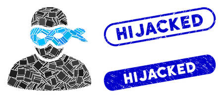 Mosaic masked thief and corroded stamp seals with Hijacked phrase. Mosaic vector masked thief is designed with randomized rectangle items. Hijacked stamp seals use blue color,