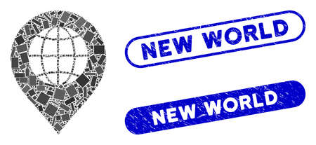 Mosaic globe marker and distressed stamp seals with New World text. Mosaic vector globe marker is created with random rectangles. New World stamp seals use blue color, and have round rectangle shape. Banque d'images - 139441553