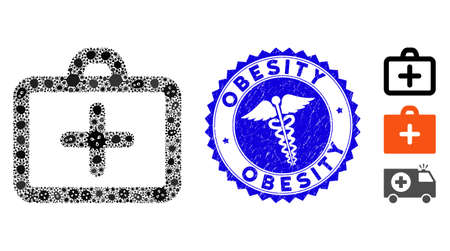 Virus mosaic first aid icon and round rubber stamp watermark with Obesity caption and healthcare icon. Mosaic vector is designed from first aid icon and with scattered microorganism elements. Çizim