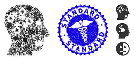 Virus mosaic psychosexual disorder icon and round rubber stamp seal with Standard caption and caduceus icon. Ilustración de vector