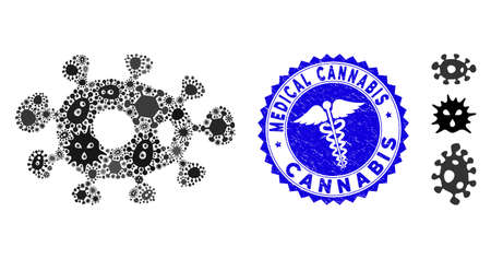 Infectious mosaic bacteria icon and rounded rubber stamp watermark with Medical Cannabis text and healthcare icon. Mosaic vector is created with bacteria icon and with random pandemic symbols.
