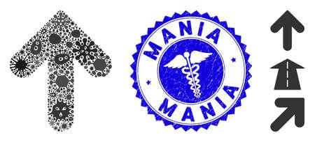 Icône de flèche vers le haut de la mosaïque de la grippe et filigrane de timbre rond corrodé avec phrase Mania et signe médical. Le vecteur mosaïque est formé avec une icône de flèche vers le haut et avec des objets épidémiques aléatoires.