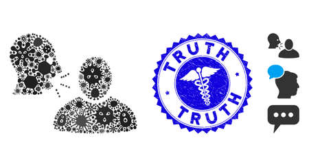 Infected mosaic rumor icon and rounded rubber stamp seal with Truth text and healthcare icon. Mosaic vector is designed with rumor icon and with random microbe symbols. Vecteurs