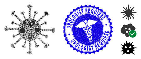Infected mosaic coronavirus icon and rounded rubber stamp seal with Urologist Required text and medicine icon. Mosaic is formed with coronavirus icon and with randomized bacillus elements.