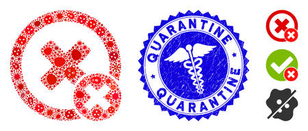 Infected collage false negative icon and round corroded stamp seal with Quarantine phrase and serpents symbol. Mosaic is composed with false negative icon and with scattered epidemic symbols. Illustration
