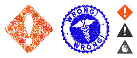 Infected mosaic error icon and rounded rubber stamp seal with Wrong! text and medical icon. Mosaic is created from error icon and with scattered amoeba symbols. Wrong! seal uses red color, Illustration