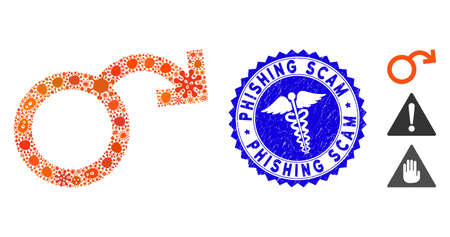 Infectious mosaic impotence icon and rounded grunge stamp seal with Phishing Scam caption and clinic sign. Mosaic is composed with impotence icon and with randomized bacillus icons.
