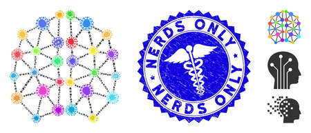 Contagious mosaic artificial brain icon and rounded grunge stamp watermark with Nerds Only phrase and medic icon.