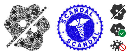 Virus mosaic not infected icon and round corroded stamp watermark with Scandal phrase and medical icon. Mosaic is formed with not infected pictogram and with randomized pandemic icons. Çizim