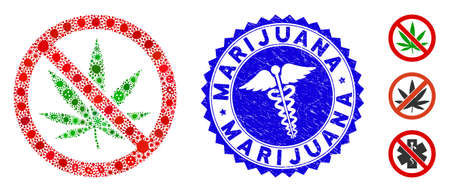 Biohazard mosaic no marijuana icon and round distressed stamp seal with Marijuana caption and caduceus icon. Mosaic vector is designed from no marijuana icon and with random pathogen elements. Ilustração