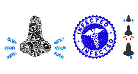 Pandemic mosaic infected nose icon and round corroded stamp watermark with Infected caption and medical symbol. Mosaic is formed with infected nose icon and with randomized contagion items.
