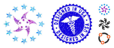 Contagious mosaic europeans collaboration icon and round rubber stamp watermark with Designed in USA caption and health care icon.