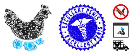Contagious mosaic chicken hen icon and rounded grunge stamp watermark with Excellent text and health care sign.