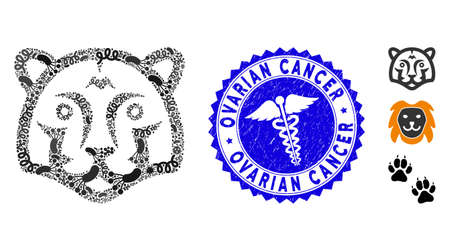 Contagion collage tiger head icon and round corroded stamp seal with Ovarian Cancer caption and doctor icon. Mosaic is created with tiger head pictogram and with scattered pathogen symbols.