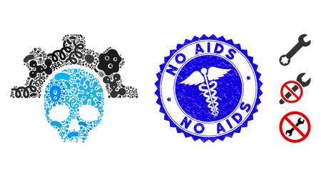 Epidemic mosaic dead tools icon and rounded rubber stamp seal with No AIDS phrase and caduceus icon. Mosaic is designed with dead tools icon and with random epidemic items. Illustration