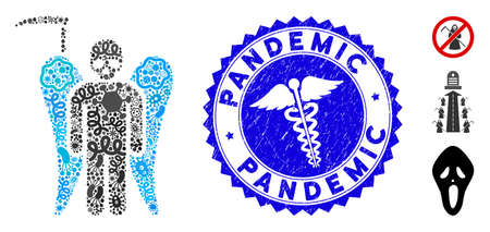 Infection mosaic scythe angel icon and rounded distressed stamp seal with Pandemic phrase and doctor icon.